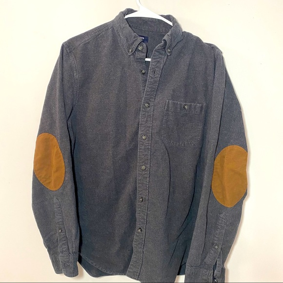 J Crew Wool Flannel & Suede Elbow Patch Long Shirt